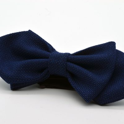 Dark Blue Mesh Asymmetric Diamond Point Bow Tie