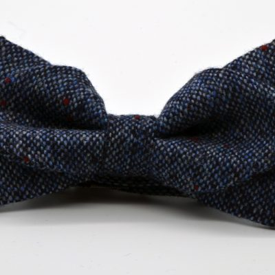 Blue Tweed Diamond Point Bow Tie