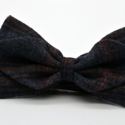 Grey Plaid Diamond Point Bow Tie