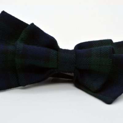 Green Blue Tartan Plaid Double Butterfly Bow Tie