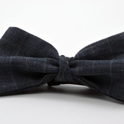 Grey Double Pinstripe Butterfly with a Twist Bow Tie