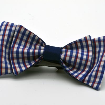 White Blue Red Plaid Double Butterfly Bow Tie