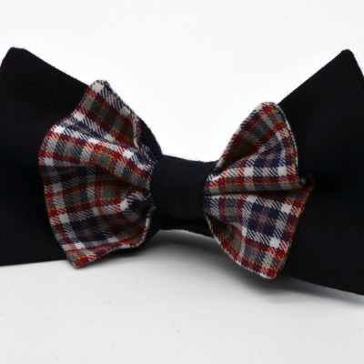 Dark Blue with Blue Red Plaid Double Butterfly Bow Tie