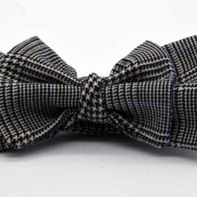 Black and White Prince de Galles Double Butterfly with a Twist Bow Tie