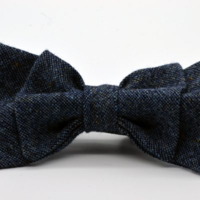 Grey Blue Tweed Double Butterfly Bow Tie