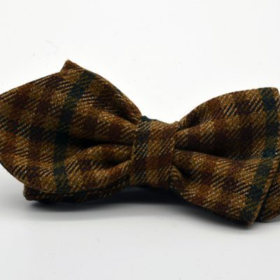Light Brown Plaid Asymmetrical Diamond Point Bow Tie