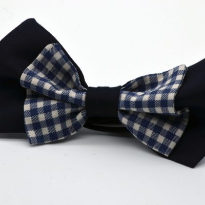 Dark Blue with Blue Gingham Double Butterfly Bow Tie
