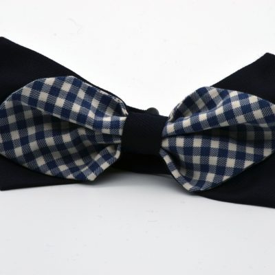 Dark Blue with Blue Gingham Diamond Point Bow Tie