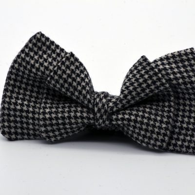 Black and White Pied de Poule Double Butterfly Bow Tie