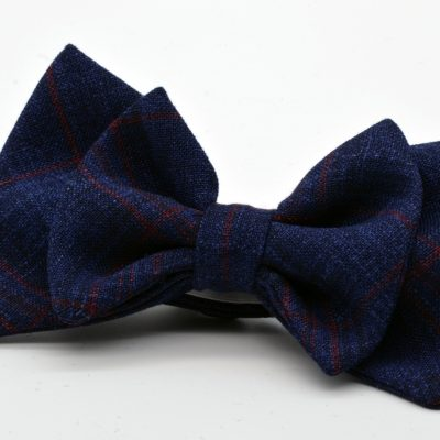 Dark Blue Plaid Double Butterfly Bow Tie