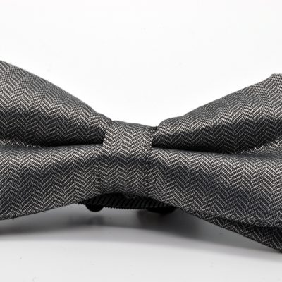 Grey Herringbone Butterfly Bow Tie