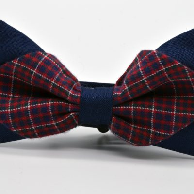 Dark Blue with Red Plaid Diamond Point Bow Tie