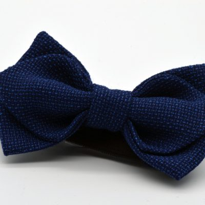 Dark Blue Mesh Diamond Point Boy's Bow Tie