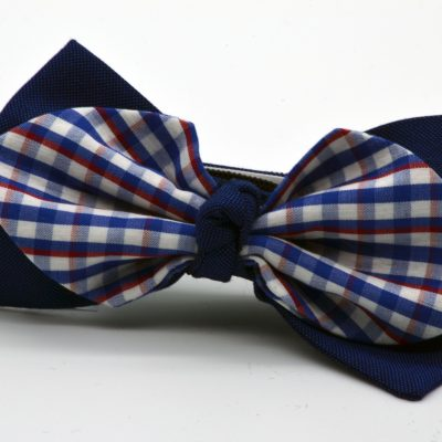 Dark Blue with White Blue Red Plaid Diamond Point with a Knot Boy's Bow Tie