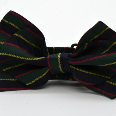 Dark Green Dark Blue Striped Diamond Point Boy's Bow Tie