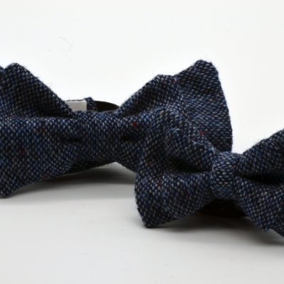 Blue Tweed Double Butterfly Bow Tie Set