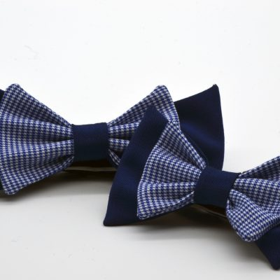 Blue with Blue White Pied de Poule Double Butterfly Bow Tie Set