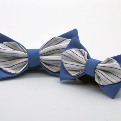 Cyan Blue with White Blue Striped Diamond Point Bow Tie Set