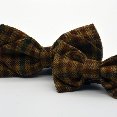 Light Brown Plaid Diamond Point Bow Tie Set