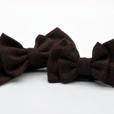 Dark Brown Double Butterfly Bow Tie Set