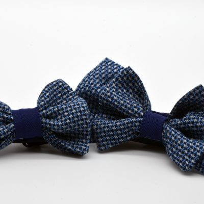 Diced Blue Butterfly Bow Tie Set