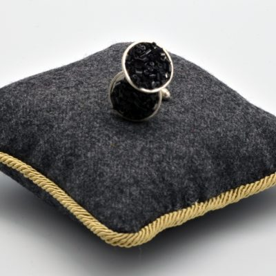 Round Cuff Links with Black Glass Seeds