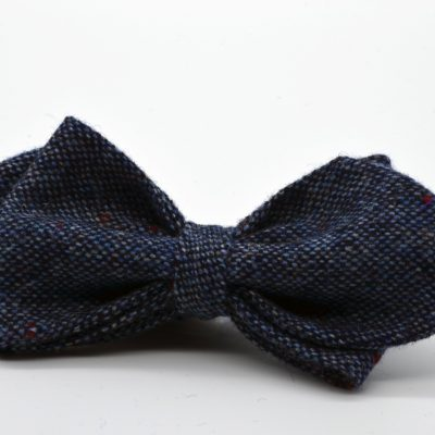 Blue Tweed Asymmetrical Diamond Point Bow Tie