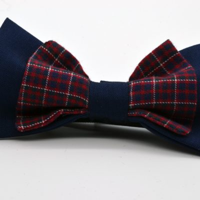 Dark Blue with Red Plaid Double Butterfly Bow Tie