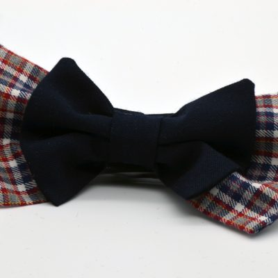 Red Blue Plaid with Dark Blue Double Butterfly Bow Tie