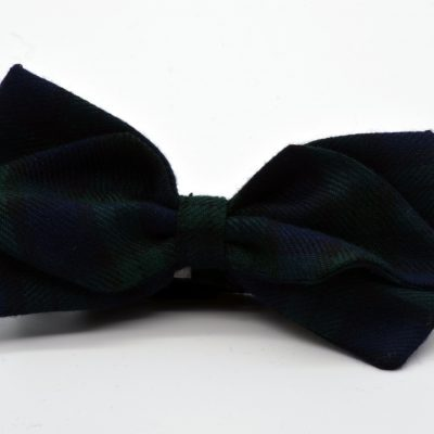 Green Blue Tartan Plaid Diamond Point Bow Tie