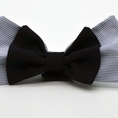 Blue White Striped with Dark Blue Double Butterfly Bow Tie