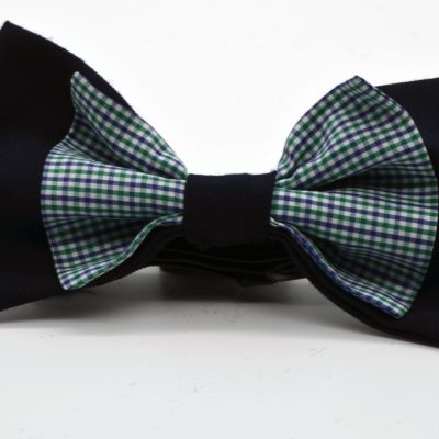 Dark Blue with Blue Green Gingham Double Butterfly Bow Tie