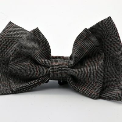 Black and White Prince de Galles Double Butterfly Bow Tie