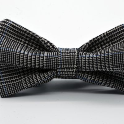 Black and White Prince de Galles Butterfly Bow Tie