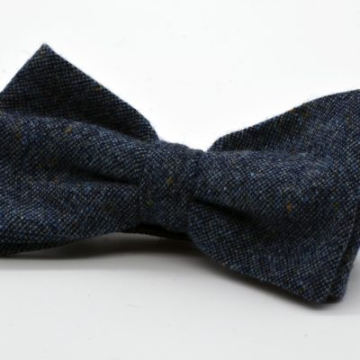 Grey Blue Tweed Butterfly Bow Tie