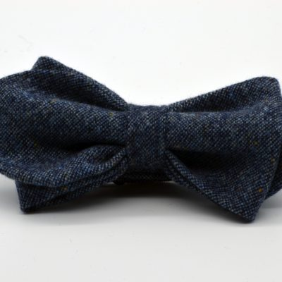 Grey Blue Tweed Asymmetrical Diamond Bow Tie