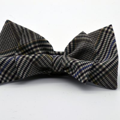Black and White Prince de Galles on Bias Double Butterfly Bow Tie