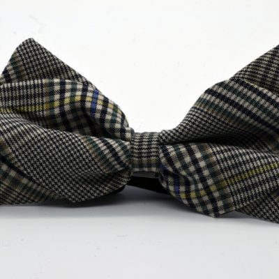 Black and White Prince de Galles Diamond Point Bow Tie