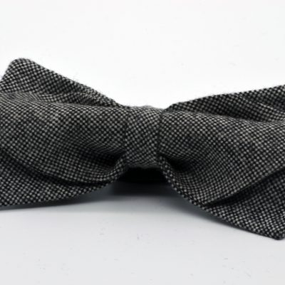 Black and White Tweed Diamond Point Bow Tie