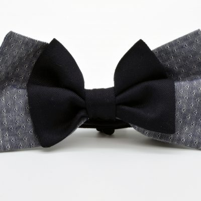 Grey Blue with Dark Blue Double Butterfly Bow Tie