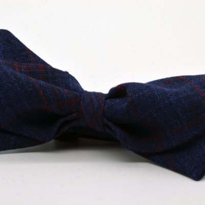 Dark Blue Plaid Diamond Point Bow Tie