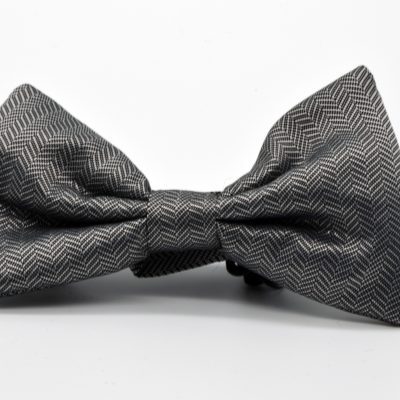 Grey Herringbone Jumbo Butterfly Bow Tie