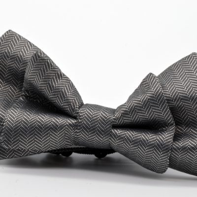 Grey Herringbone Double Butterfly Bow Tie