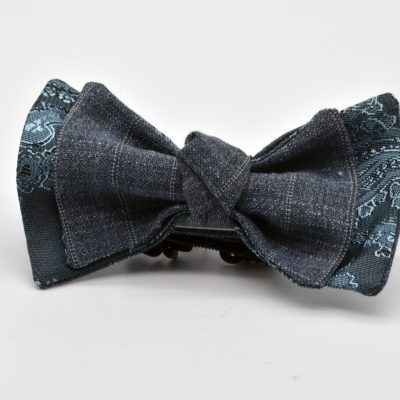 Grey Blue Paisley with Grey Double Pinstripe Double Butterfly with a Knot Boy's Bow Tie
