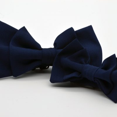 Dark Blue Double Butterfly Bow Tie Set