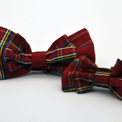 Red Tartan Plaid Double Butterfly Bow Tie Set