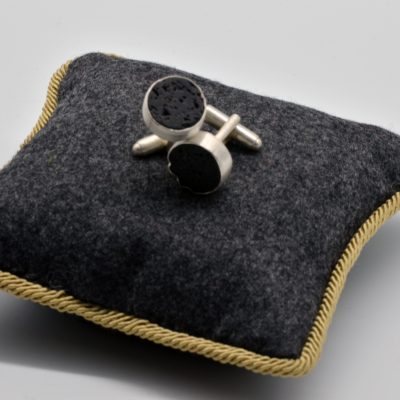 Round Cuff Links with Black Lava Stone