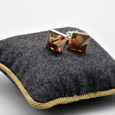 Square Cuff Links with Zircon Sambayon